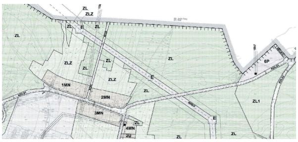 Rysunek miejscowego planu zagospodarowania Gminy Kleszczów, obejmujący planową linię energetyczną 400 kV.